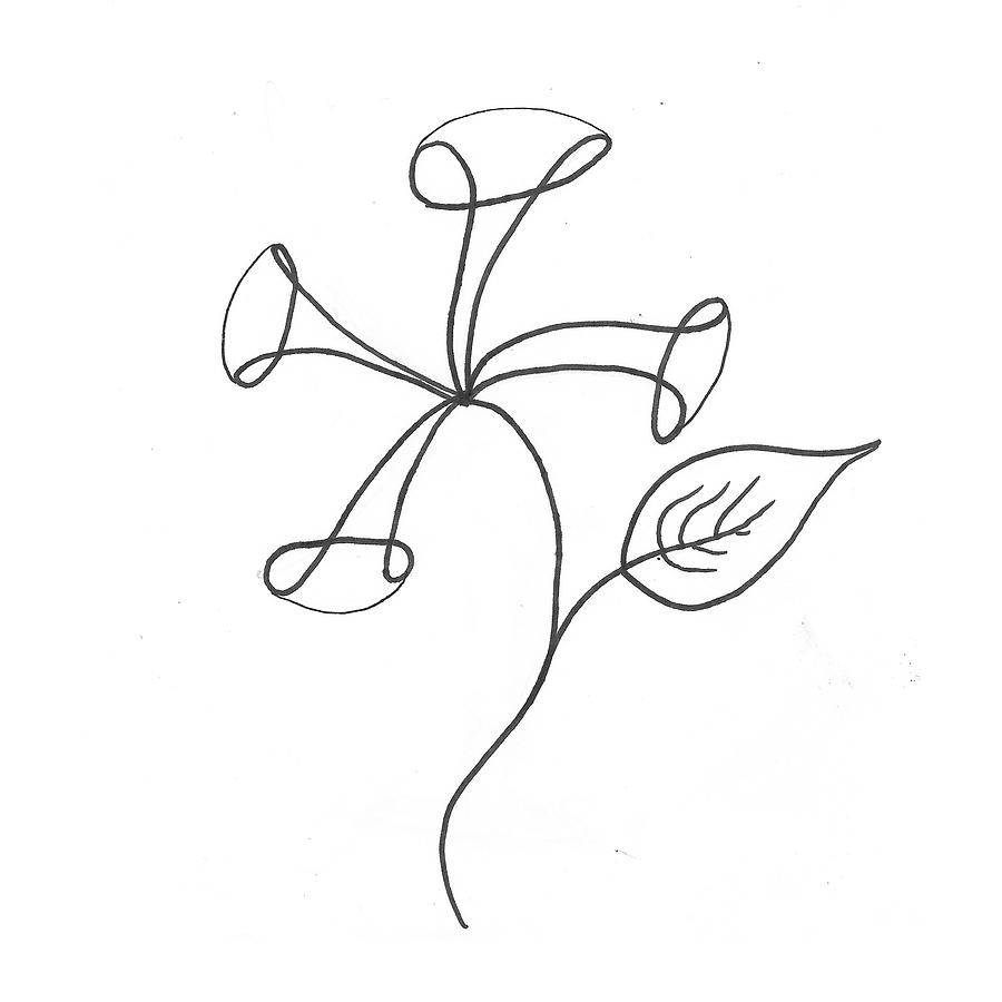 Minimalist flower 1 drawing by imaginecreatedo artists for Minimal art black and white
