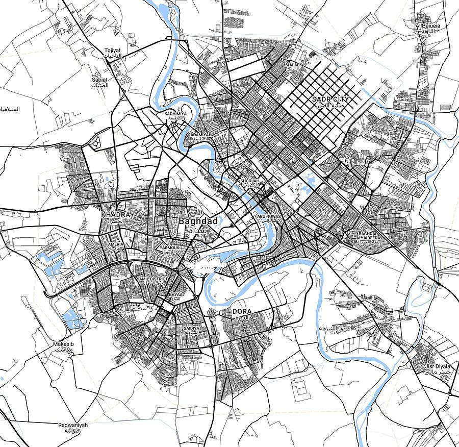 Minimalist Modern Map Of Baghdad, Iraq 3