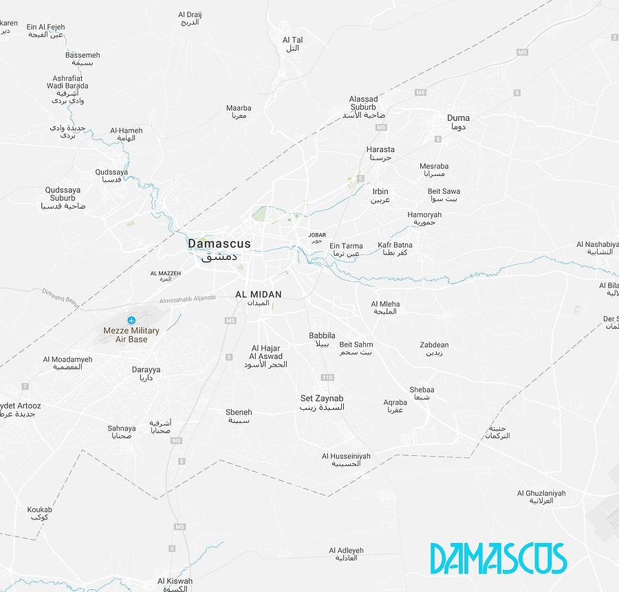 Minimalist Modern Map Of Damascus, Syria 1a Painting by Celestial ...