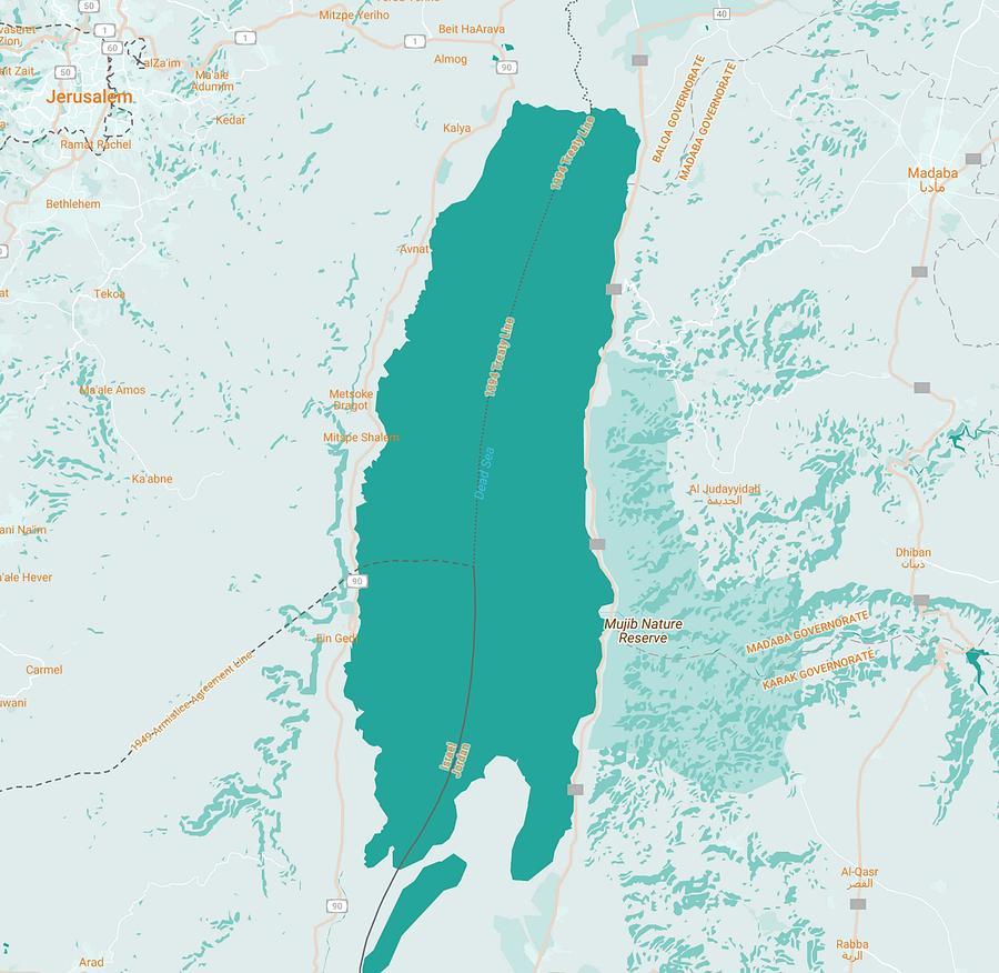 Dead Sea Hotels Map on
