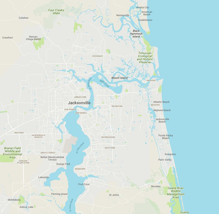 Minimalist Modern Map Of Jacksonville, Florida, Usa 1 by Celestial Images