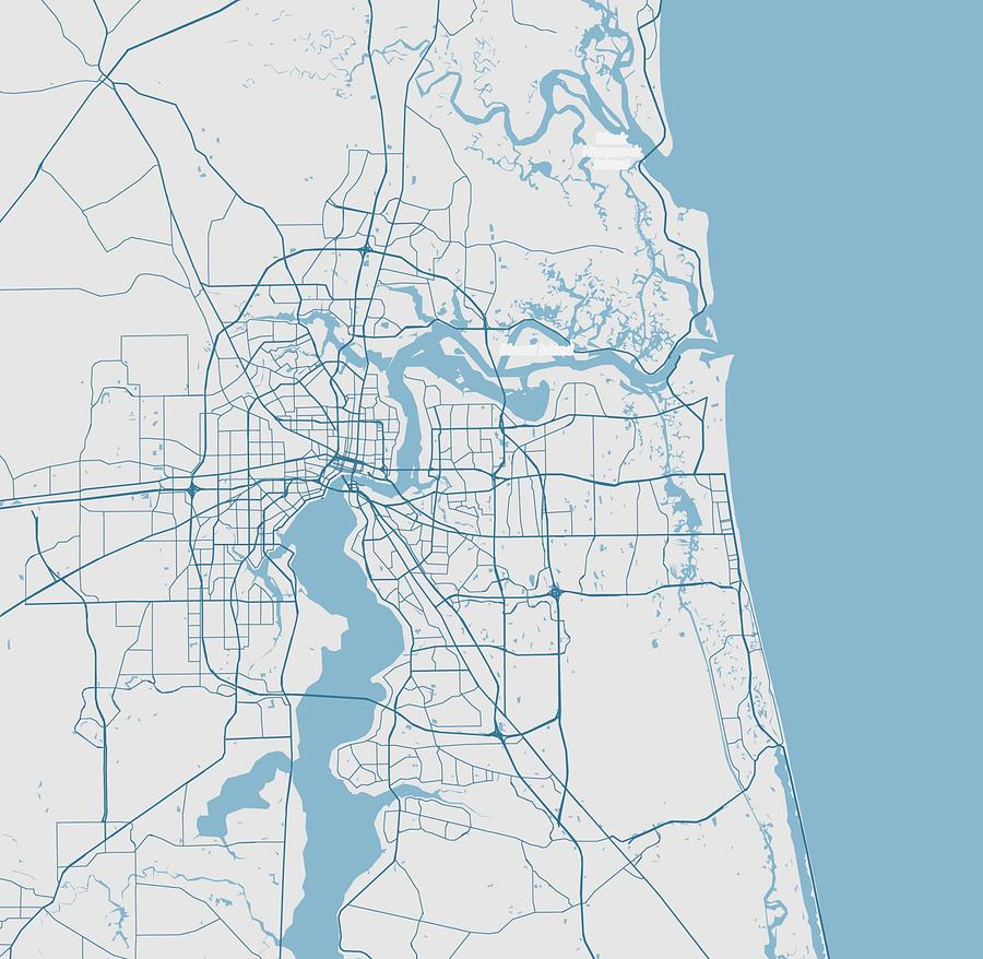 Minimalist Modern Map Of Jacksonville, Florida, Usa 2 by Celestial Images