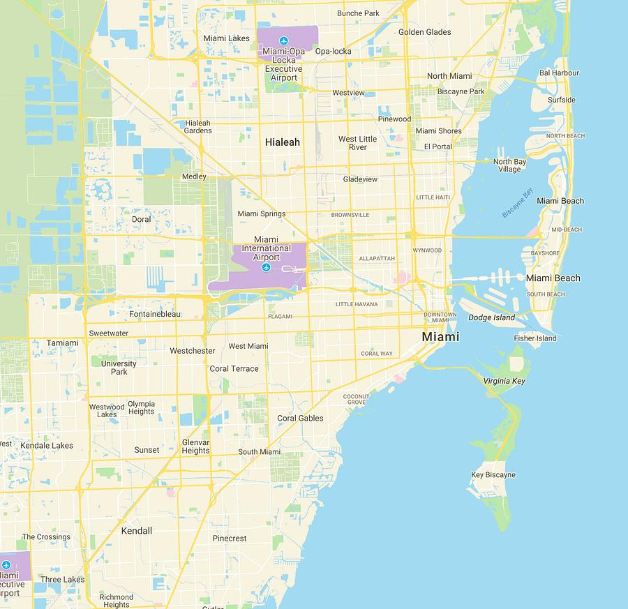 Minimalist Modern Map Of Miami Florida Usa 3 Painting By Celestial