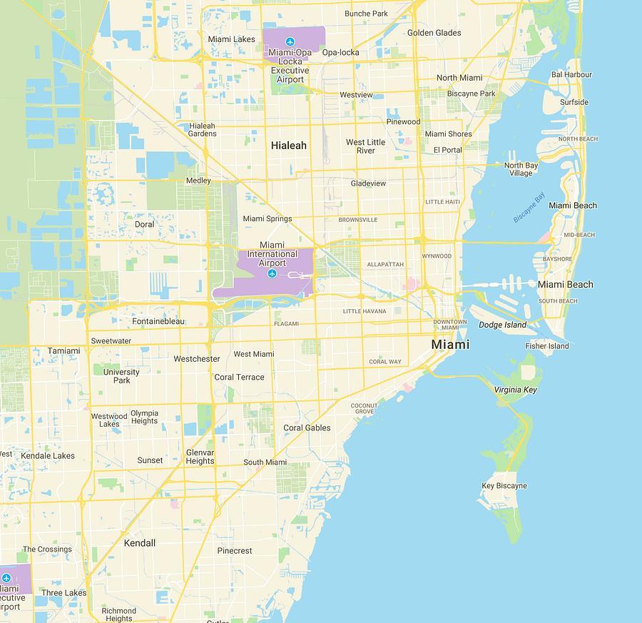miami florida usa map Minimalist Modern Map Of Miami Florida Usa 3 Painting By miami florida usa map