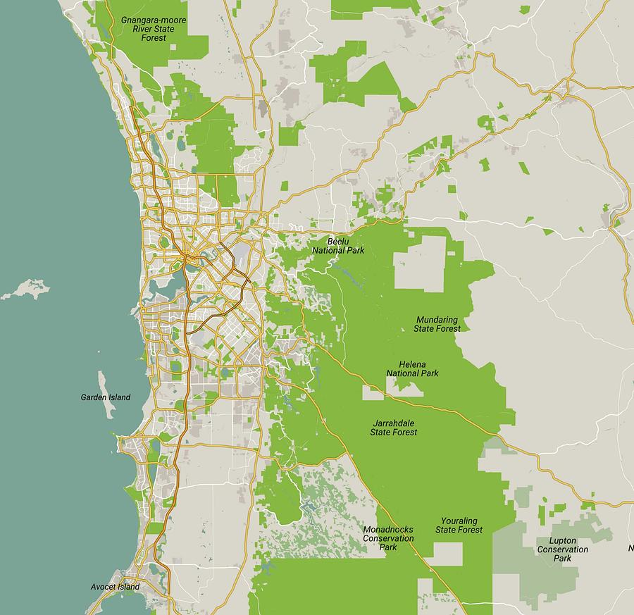 Perth In Australia Map.Minimalist Modern Map Of Perth Australia 5 By Celestial Images