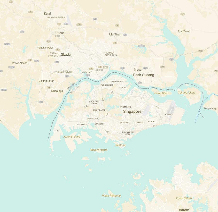 Minimalist Modern Map Of Singapore 4 Painting By Celestial Images