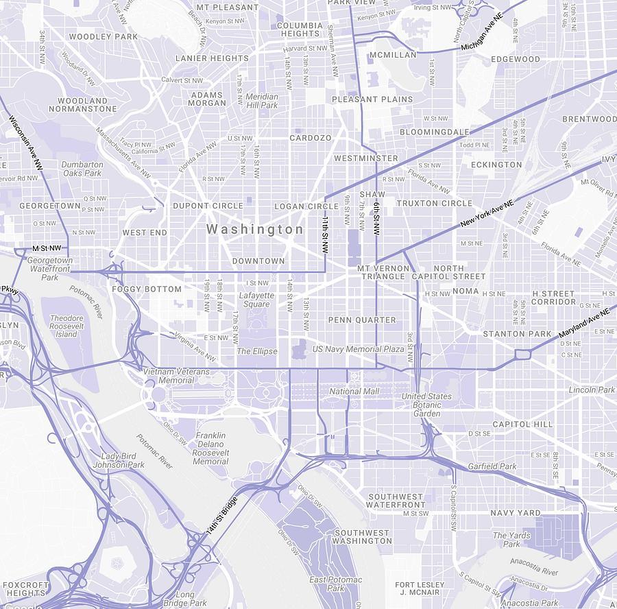 Minimalist Modern Map Of Washington Dc, Usa 5 Painting by Celestial ...