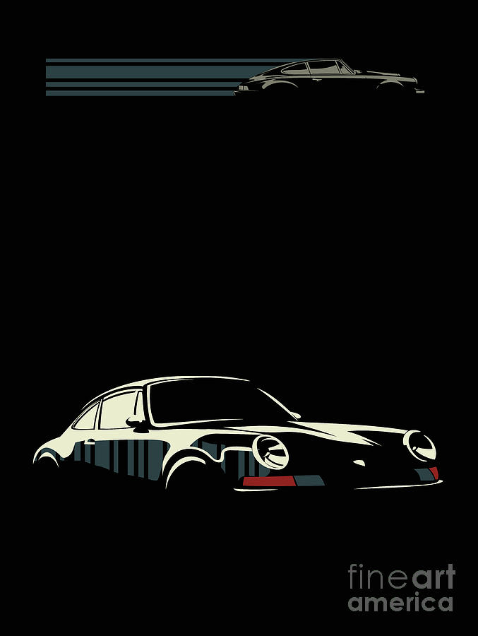 Porsche Digital Art - Minimalist Porsche by Sassan Filsoof
