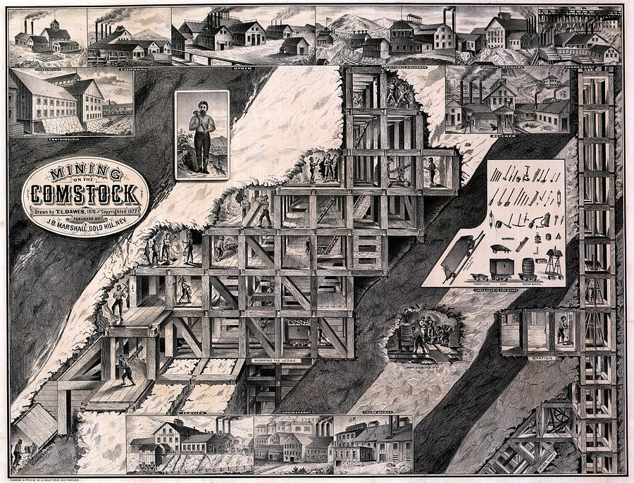 1870s Photograph - Mining On The Comstock, Cutaway by Everett