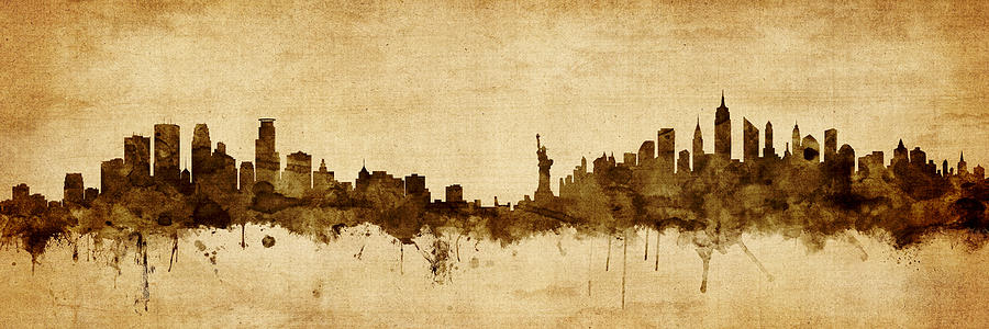 Minneapolis Digital Art - Minneapolis And New York Skyline Mashup by Michael Tompsett