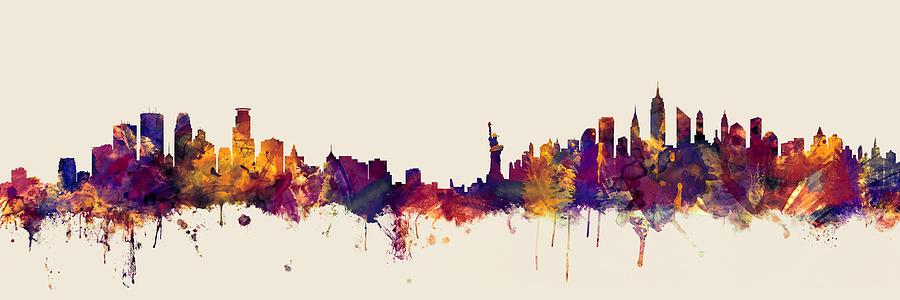 Minneapolis Digital Art - Minneapolis And New York Skylines Mashup by Michael Tompsett