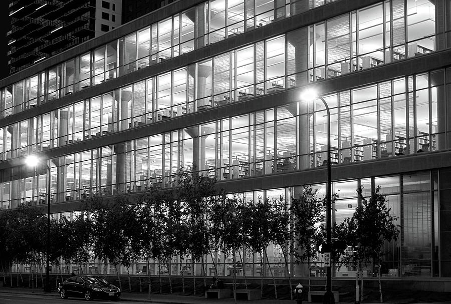 Minneapolis Photograph - Minneapolis Central Library At Night by Jim Hughes