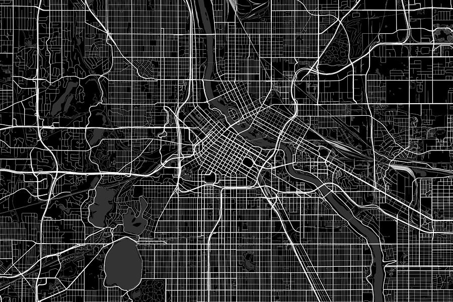 Minneapolis Minnesota Usa Dark Map Digital Art by Jurq Studio