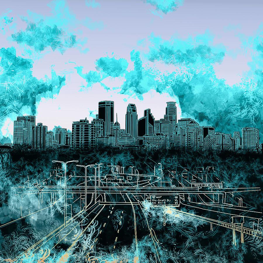 Minneapolis Painters: Minneapolis Skyline Abstract 3 Painting By Bekim Art