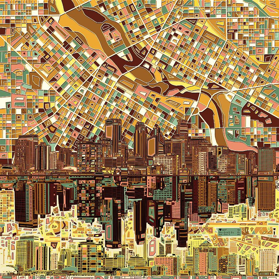 Minneapolis Painters: Minneapolis Skyline Abstract 8 Painting By Bekim Art
