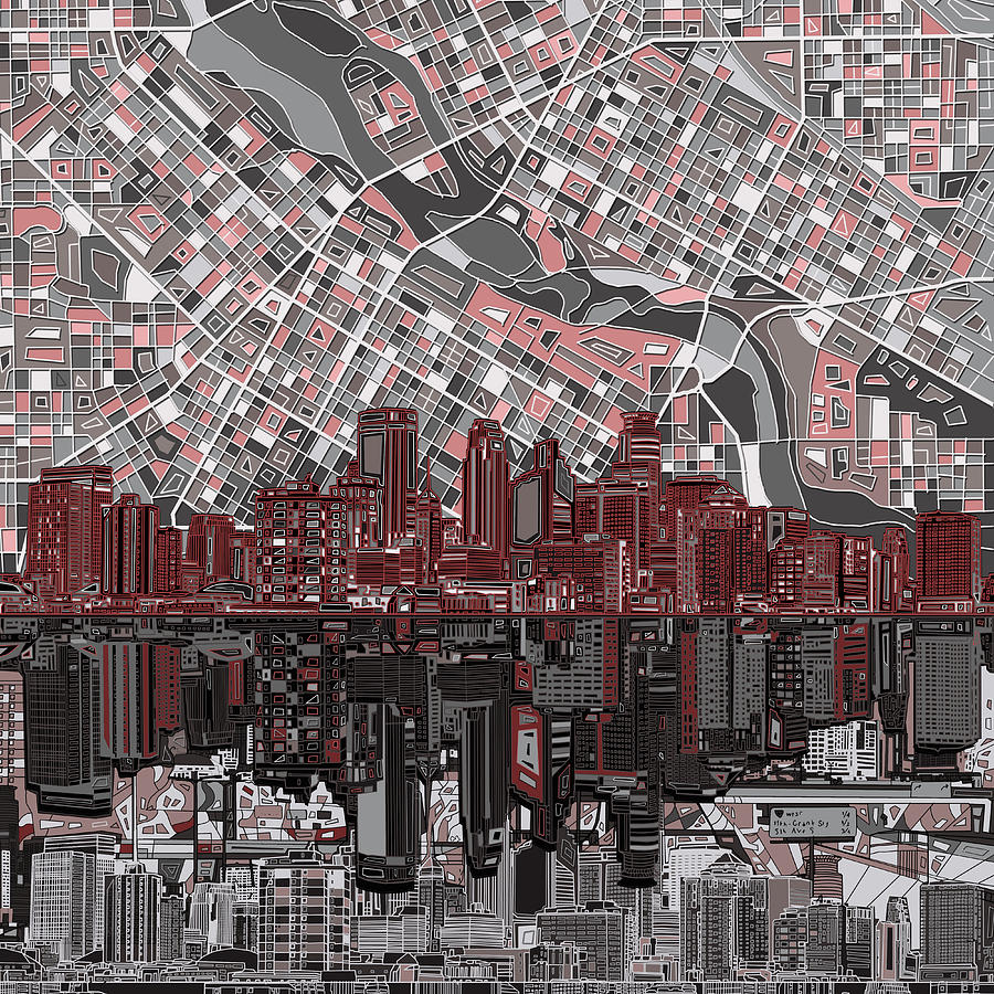 Minneapolis Skyline Abstract 9 Painting