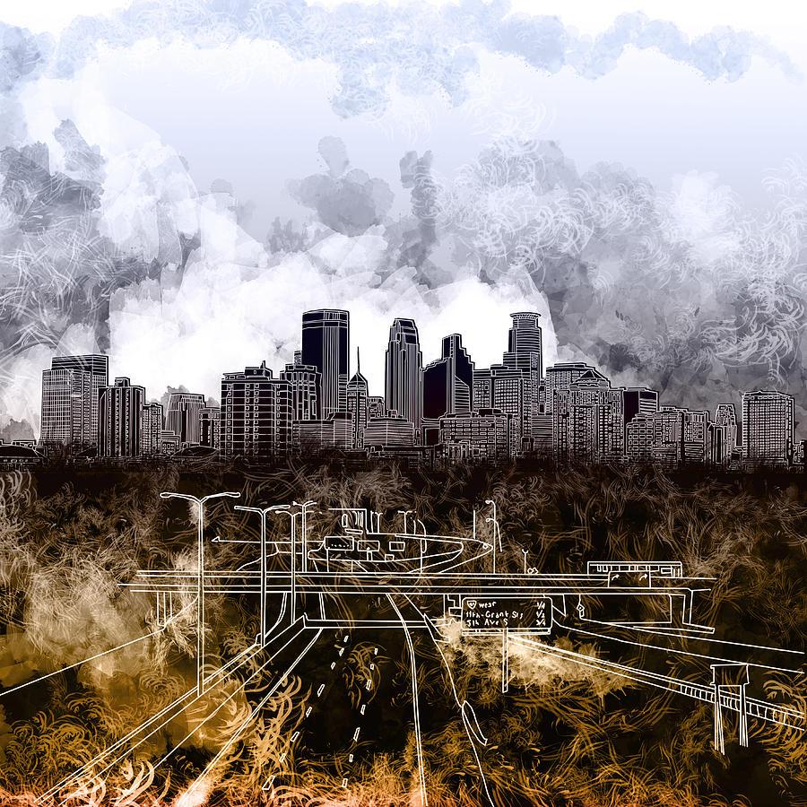 Minneapolis Painters: Minneapolis Skyline Abstract Painting By Bekim Art