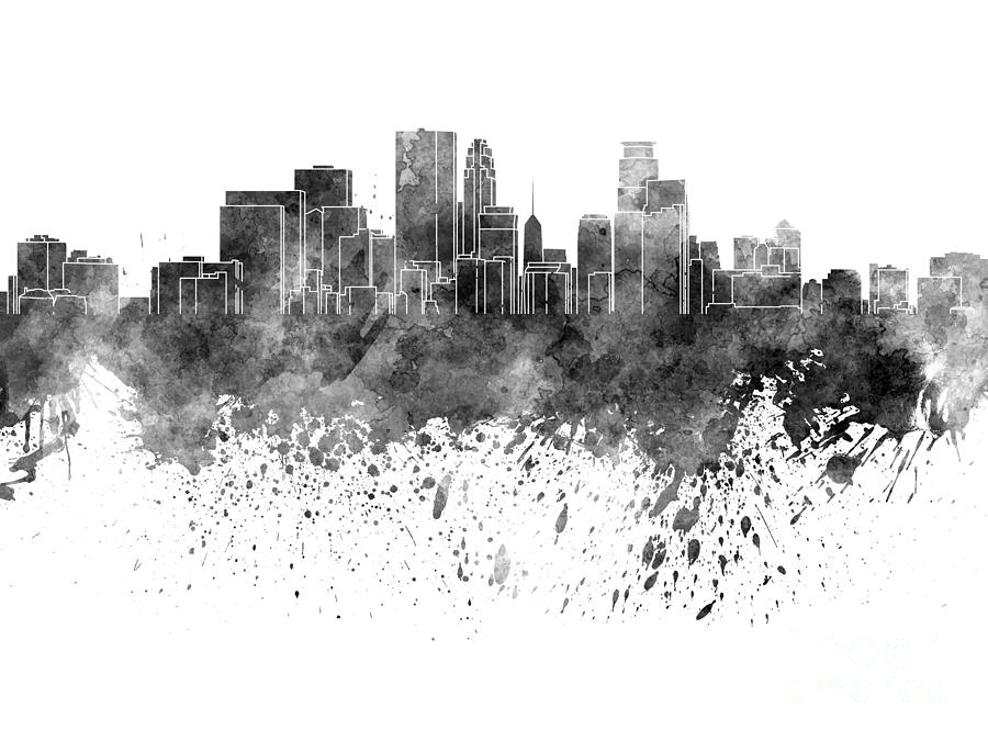 Minneapolis skyline in black watercolor on white for White and black paintings