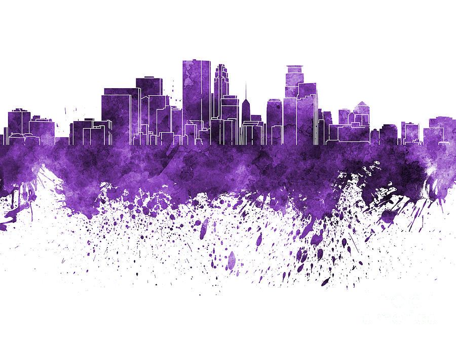 Minneapolis Skyline In Purple Watercolor On White