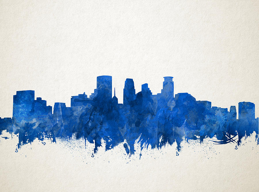 Minneapolis Painting - Minneapolis Skyline Watercolor Blue by Bekim M