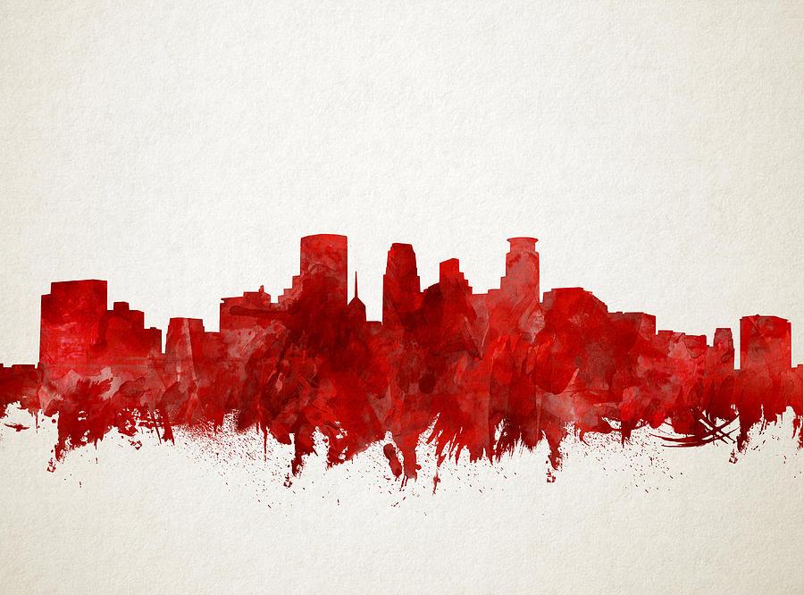 Minneapolis Skyline Watercolor Red Painting