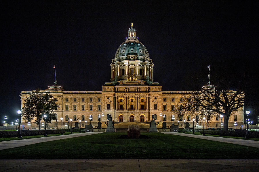 Capital Building Photograph - Minnesota Capital At Night by Paul Freidlund