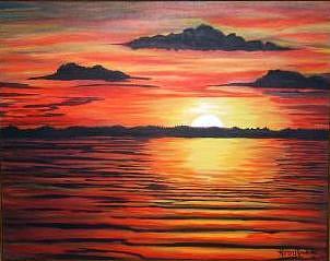 Minnesota Clearlake Sunset Painting by Karen Rowland