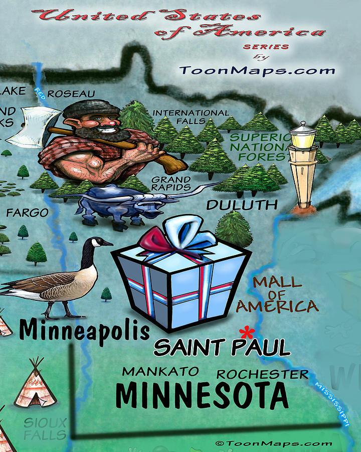 Minnesota Fun Map Digital Art