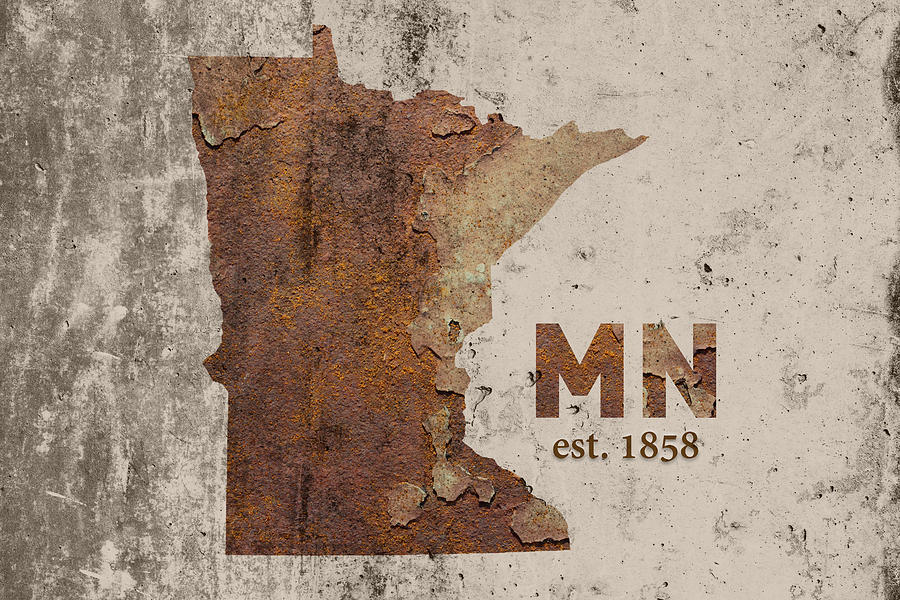Minnesota Mixed Media - Minnesota State Map Industrial Rusted Metal On Cement Wall With Founding Date Series 036 by Design Turnpike