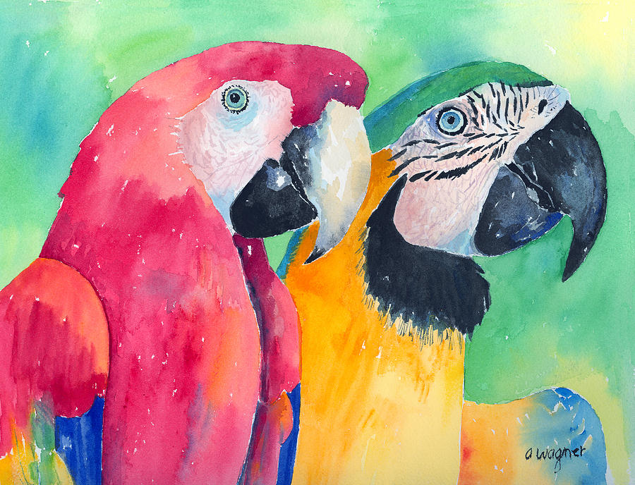 Macaw Painting - Minnie And Boggs by Arline Wagner
