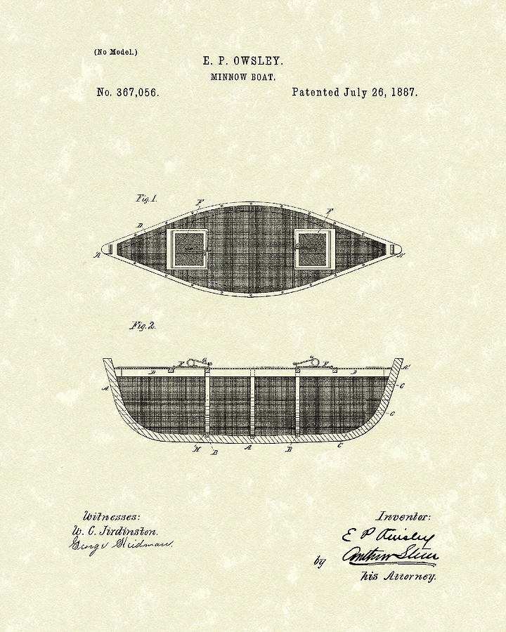 Owsley Drawing - Minnow Boat 1887 Patent Art by Prior Art Design