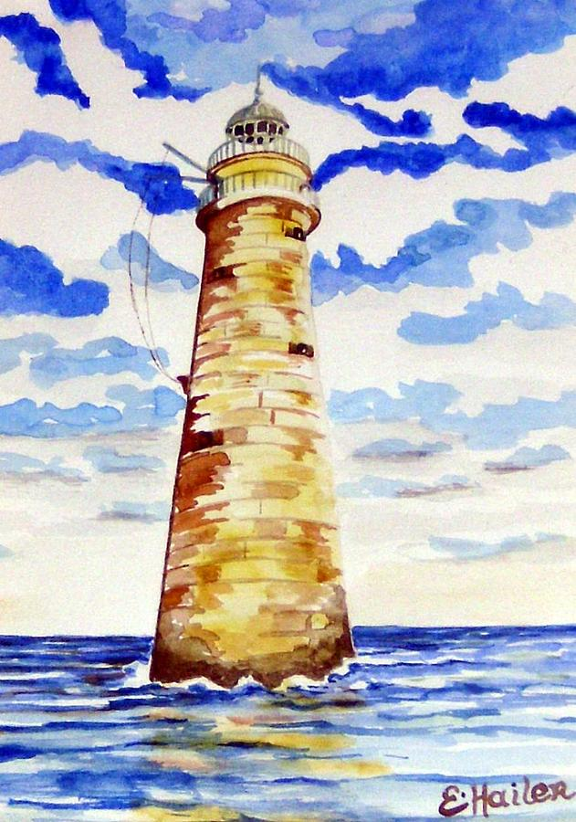 Watercolor Painting - Minot Lighthouse by Elaine Cummins