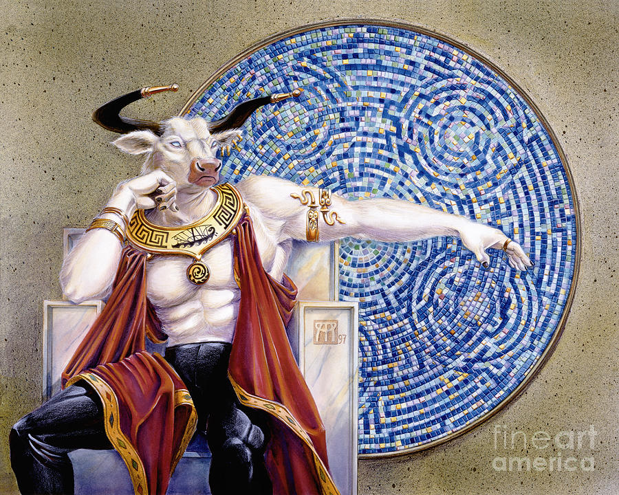 Minotaur With Mosaic Painting