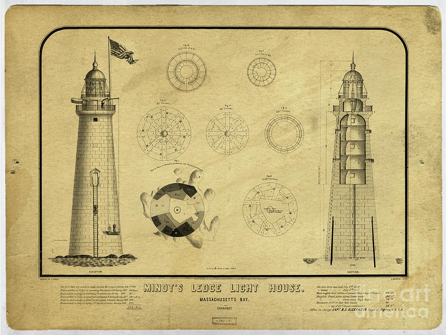 Minot Drawing - Minots Ledge Light House. Massachusetts Bay by Edward Fielding