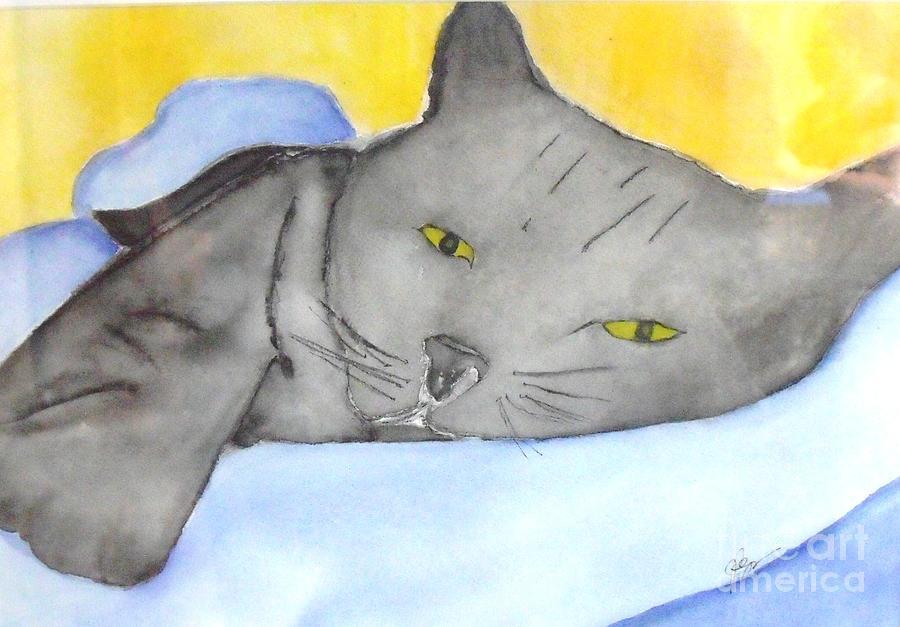 Cat Painting - Minou by Djl Leclerc