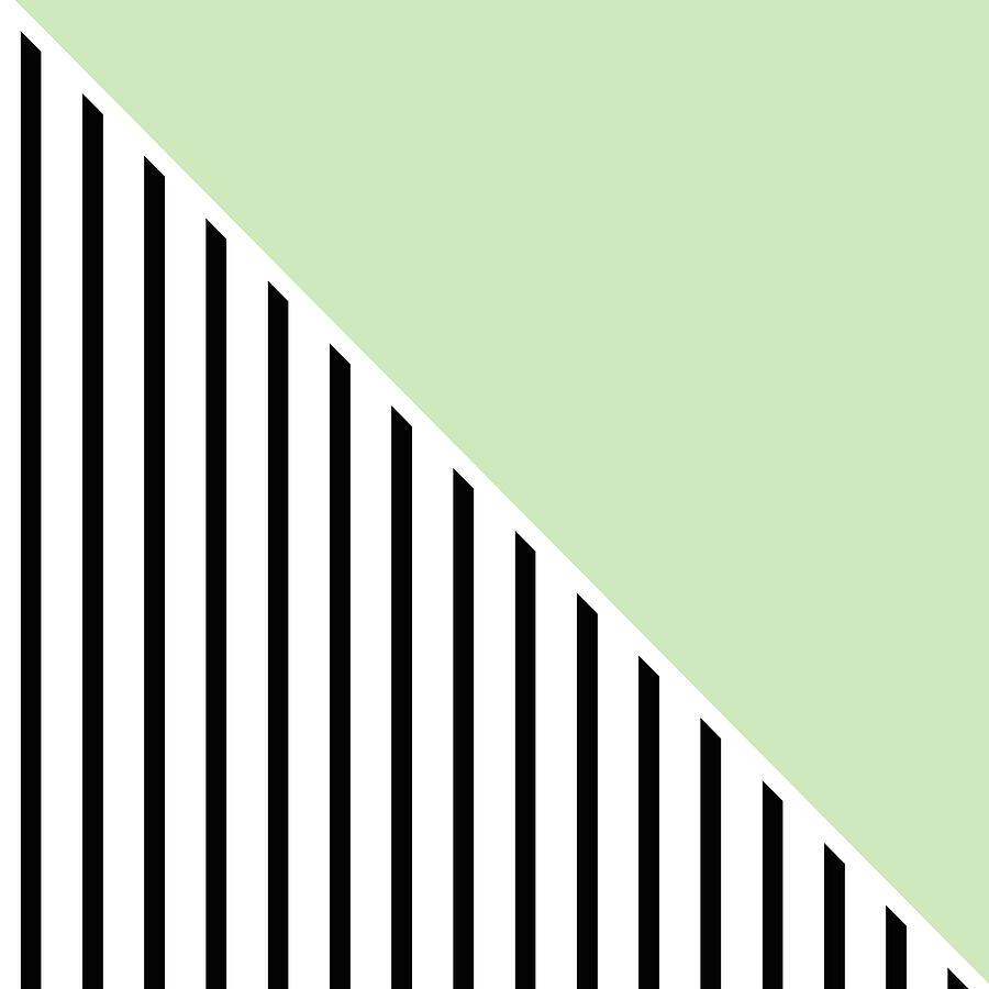 Mint And Black Geometric Digital Art