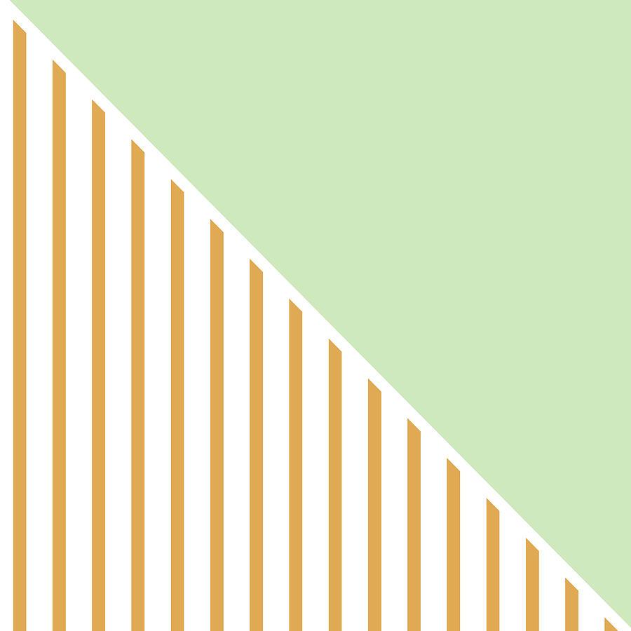 Mint And Gold Geometric Digital Art