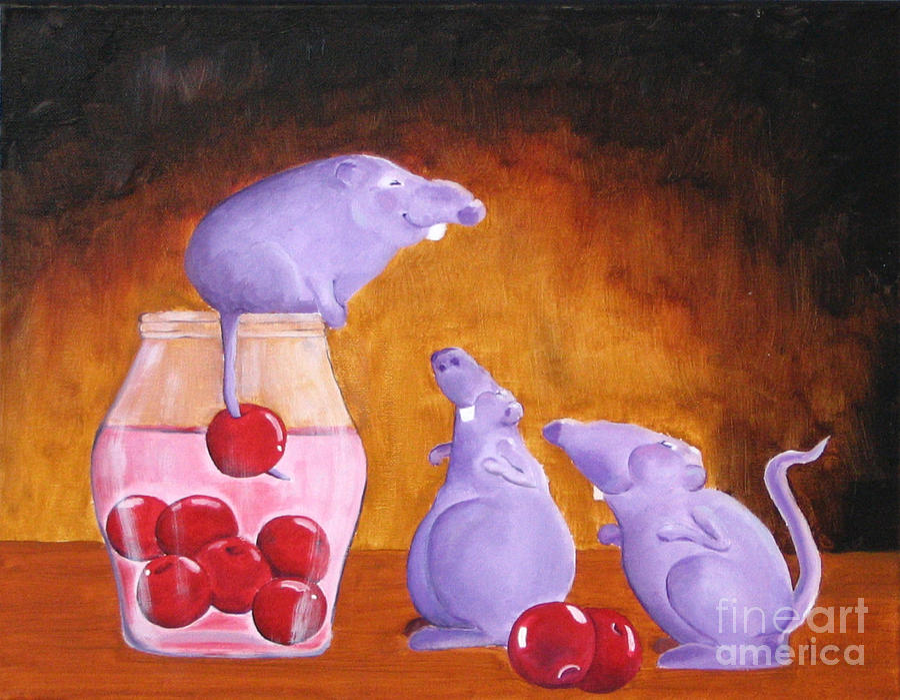 Mice Painting - Mioummmmmmmmmm Cherriesssssssssss by Line Gagne