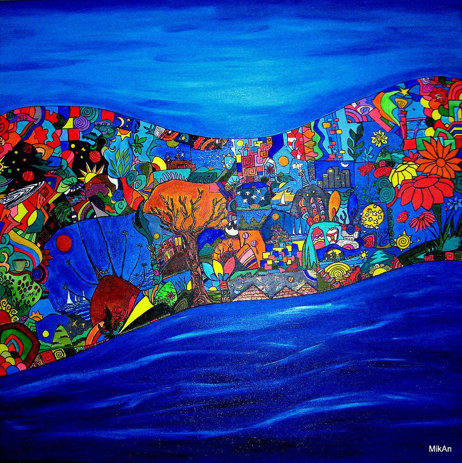 Moon Painting - Mira Como Nadan by MikAn sArt