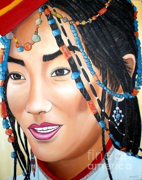 Pintura Painting - Mirada Tibetana by Carmen Junyent