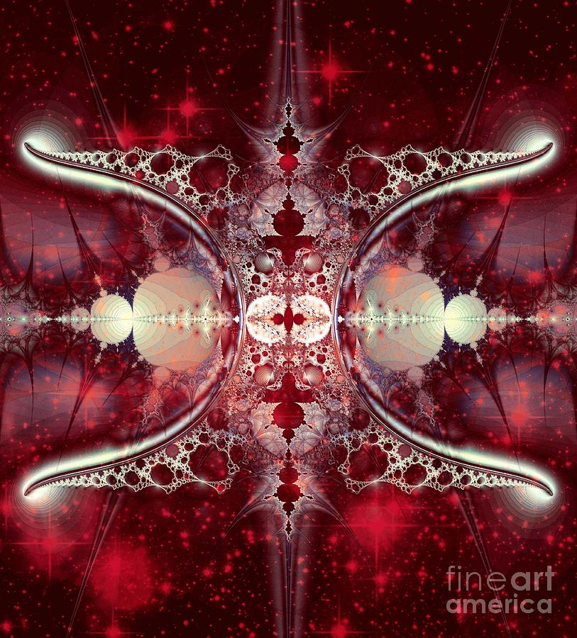 Mirror Gateway / Crop / Red Stars Digital Art by Elizabeth McTaggart