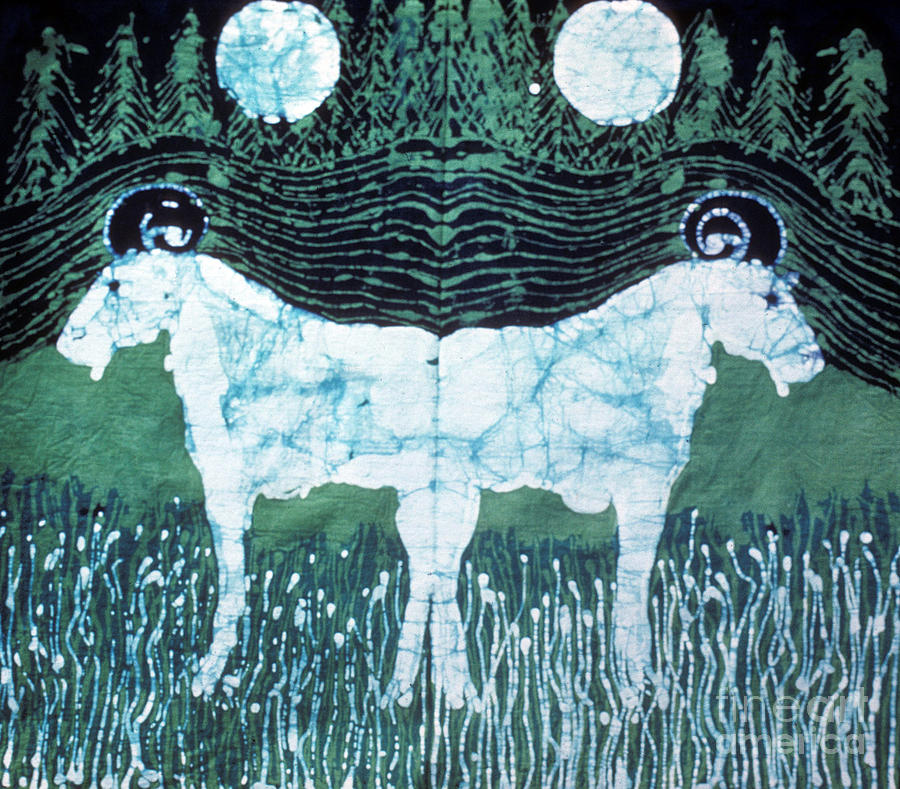 Goat Tapestry - Textile - Mirror Image Goats In Moonlight by Carol Law Conklin