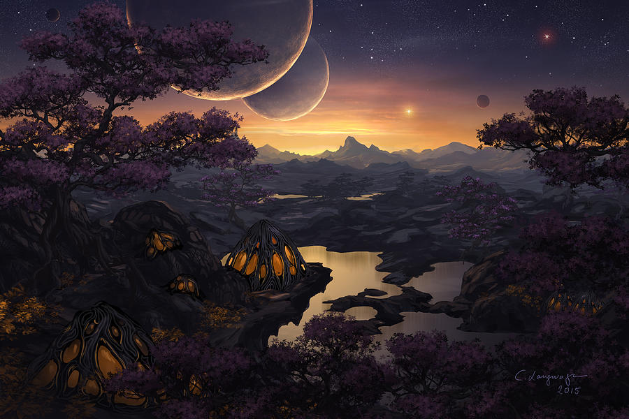 Fantasy Digital Art - Mirror Lakes by Cassiopeia Art