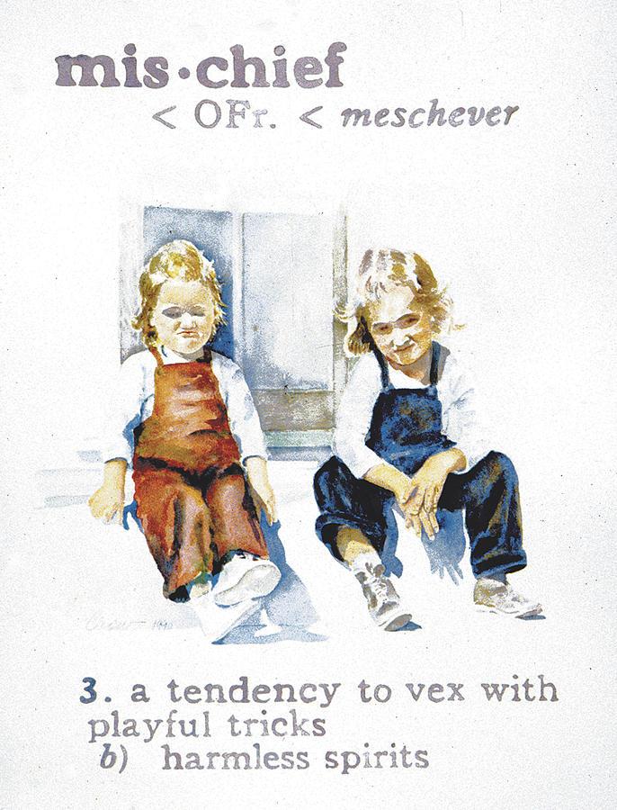 Children Painting - Mischief by Janice Crow