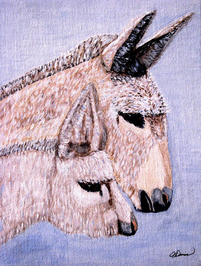 Baby Burros Painting - Mischievous Burros by Angela Davies
