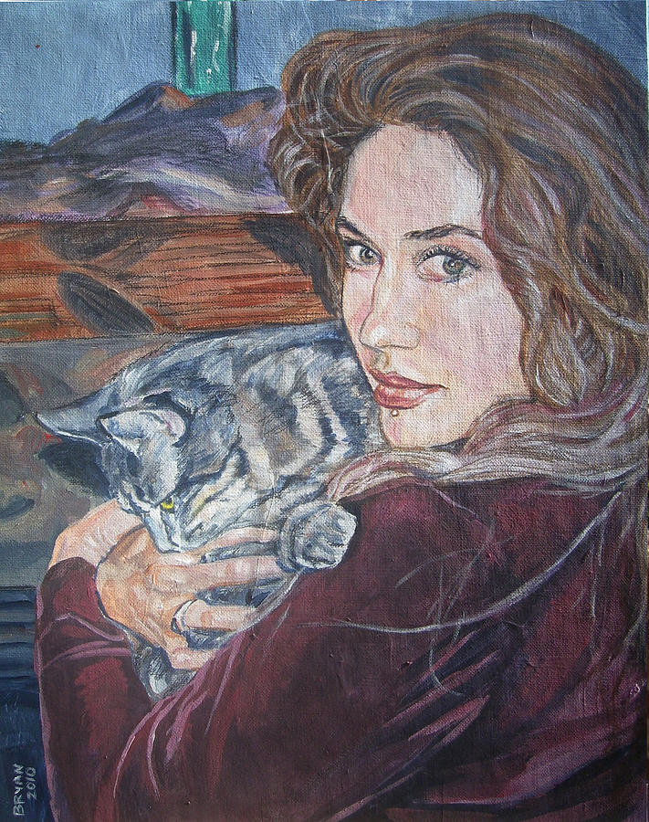 Cat Painting - Misha The Cat Woman by Bryan Bustard