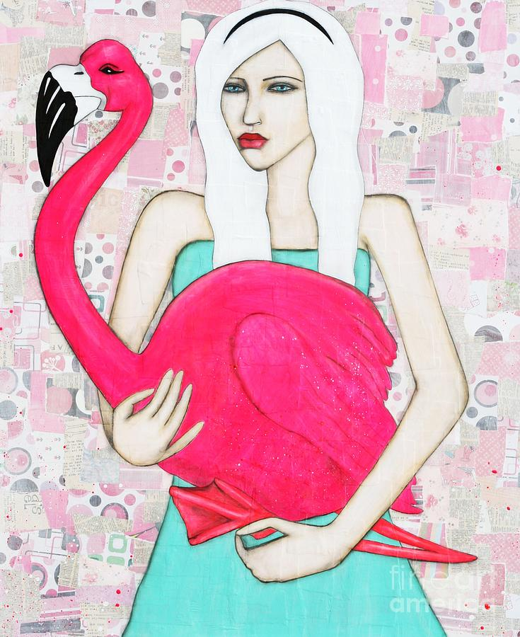 Flamingo Painting - Miss Alice by Natalie Briney