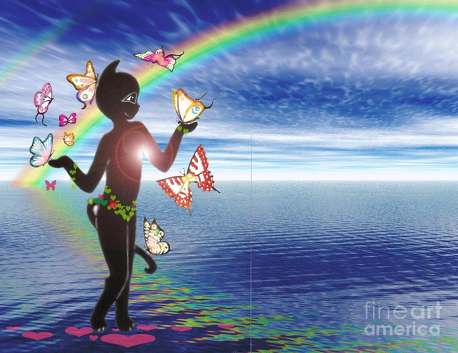 Miss Fifi And The Rainbow Digital Art by Silvia  Duran