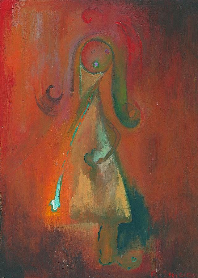 Abstract Painting - Miss Green With Envy by Ricky Sencion