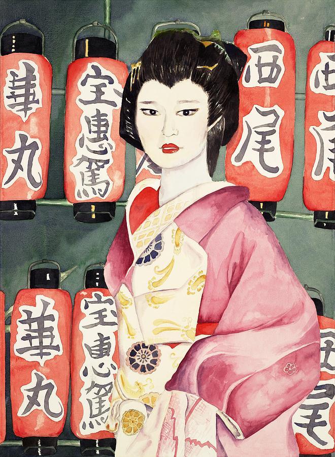Japanese Lettering Painting - Miss Hanamaru At Osaka Festival by Judy Swerlick